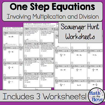 Writing One Step Equations Worksheet