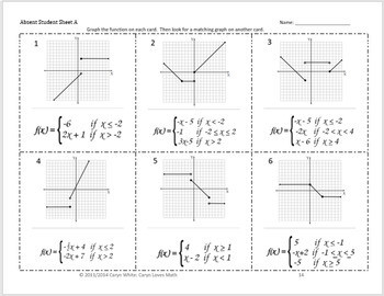 Graphing Piecewise defined Functions Walk Around Activity Matching