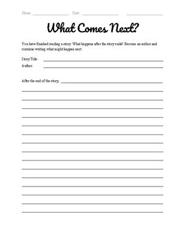Story Continuation Worksheet Writing After the Ending
