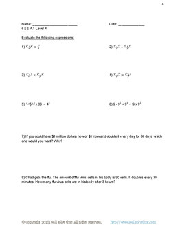 Writing Variable Expressions Worksheets