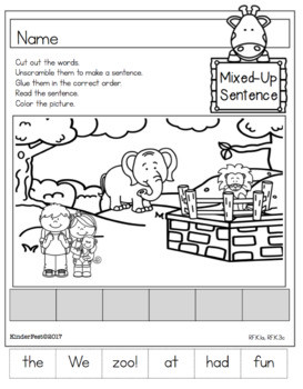 A Trip to the Zoo Worksheets for Kindergarten ELA and Math